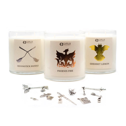 carlin brothers, candles, phoenix fire, broomstick handle, sherbet lemon, trinkets, charms