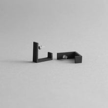 Load image into Gallery viewer, Detail of Black Square Earrings