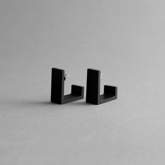 Detail of Black Square Earrings