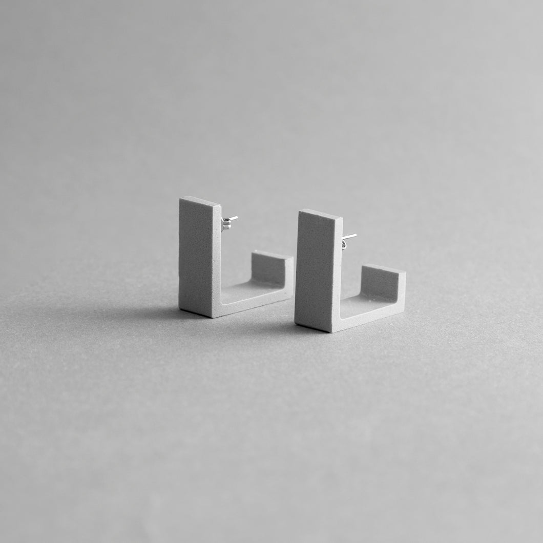 Detail of Grey Square Earrings