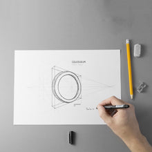 Load image into Gallery viewer, Design of the COLOSSEUM Bangle's project with a hand that draws, eraser and sharpener.