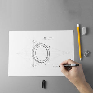 Design of the COLOSSEUM Bangle's project with a hand that draws, eraser and sharpener.