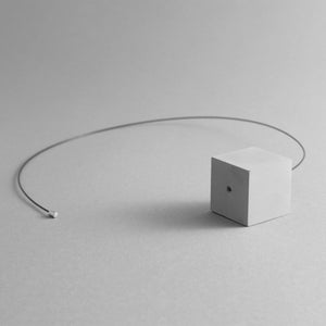 Detail of the White Cube Necklace's magnetic chain