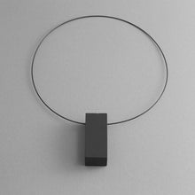 Load image into Gallery viewer, Detail of the Black Rectangle Necklace