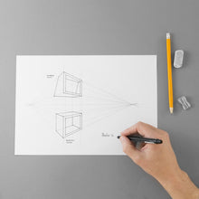 Load image into Gallery viewer, The design of the squared ring's project with a hand that draws, eraser and sharpener.