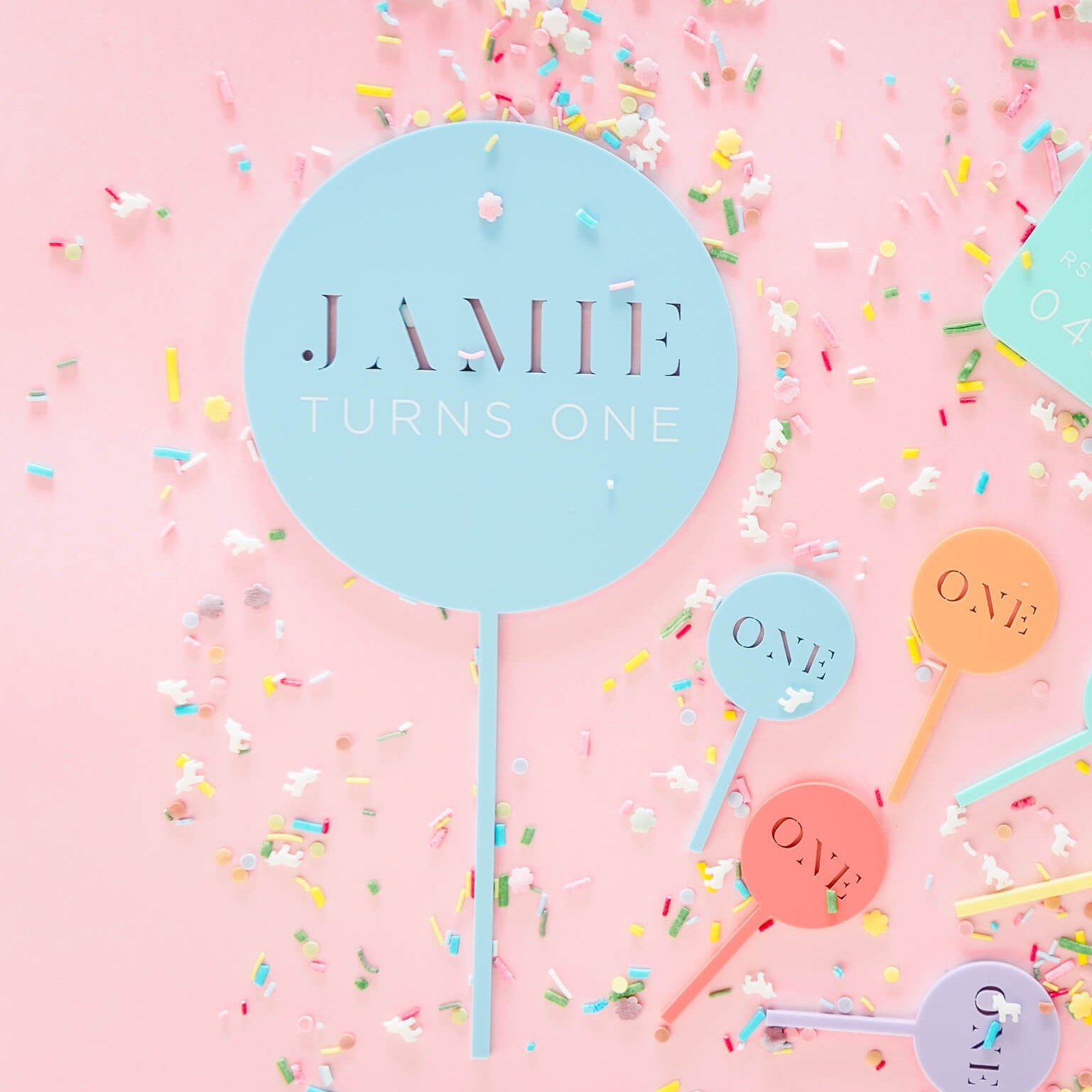 Personalised Pastel Acrylic Cake Topper
