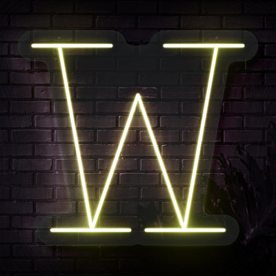 Personalized Initial Letter W Neon Sign