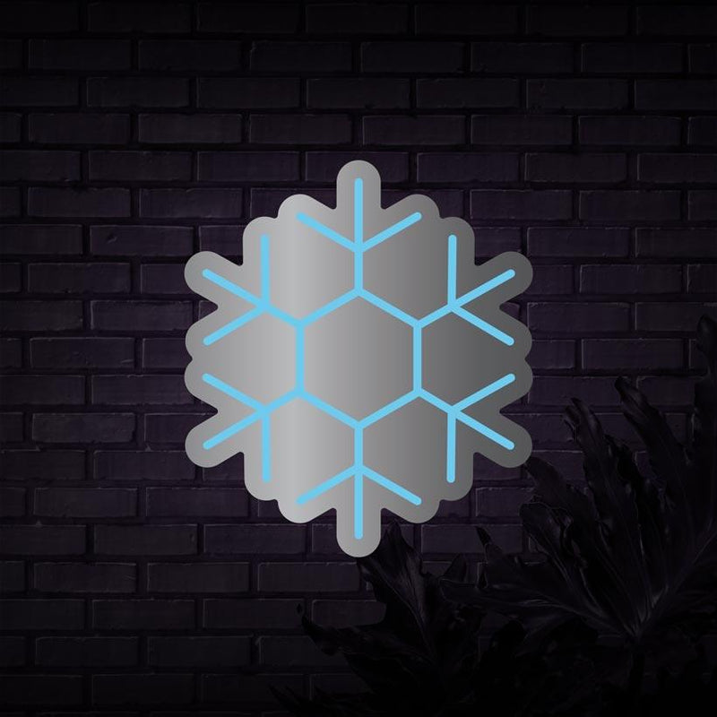 Silver Mirror Snowflake Neon Sign