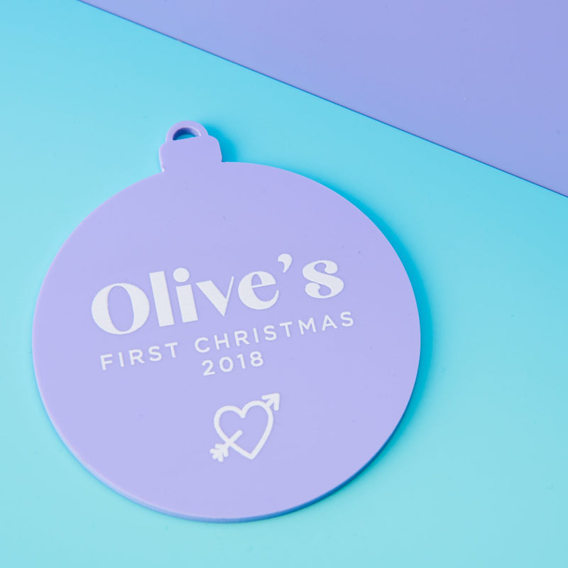 Playful Pastels 1st Christmas Ornament