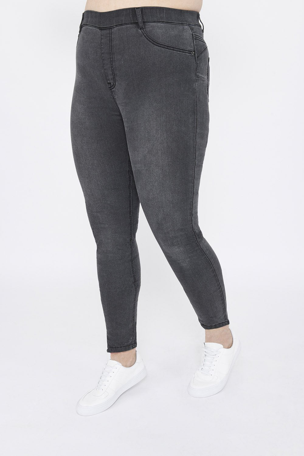 Plus Size Grey Ankle Grazer Jeggings