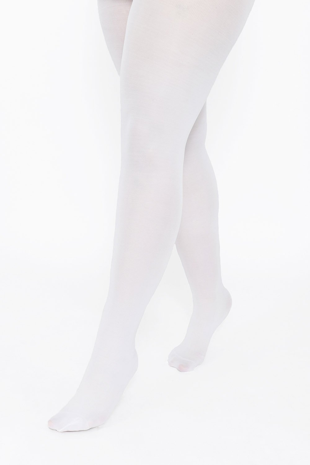 Plus Size White 100 Denier Tights