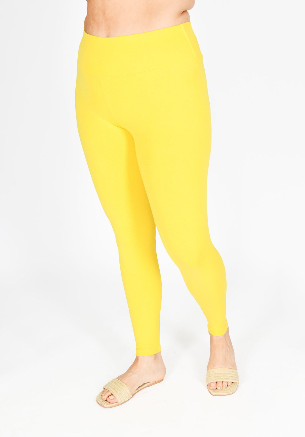 Plus Size Buttercup Yellow High Waisted Leggings 1