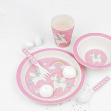 Load image into Gallery viewer, Rainbow Unicorn Bamboo Tableware Set