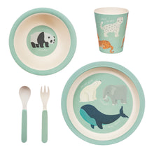 Load image into Gallery viewer, Endangered Animals Bamboo Tableware Set