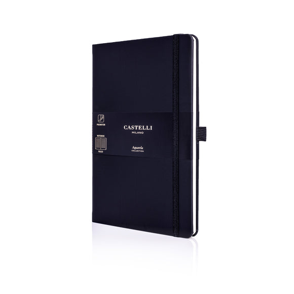Aquarela Medium Ruled Notebook - Black Sepia