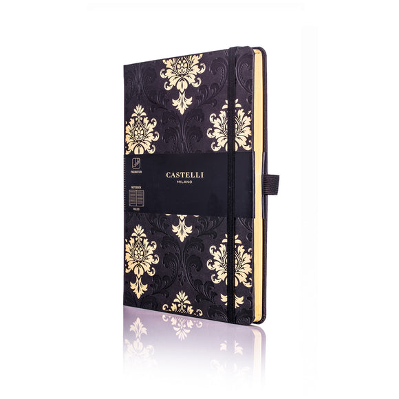 Gold Medium Ruled Notebook - Baroque