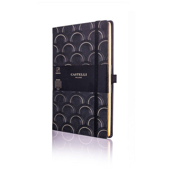 Gold Medium Ruled Notebook - Art Deco