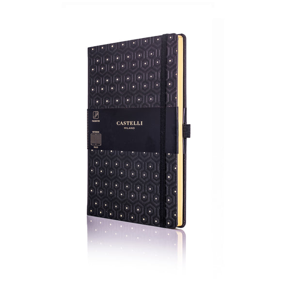 Gold Medium Ruled Notebook - Honeycomb