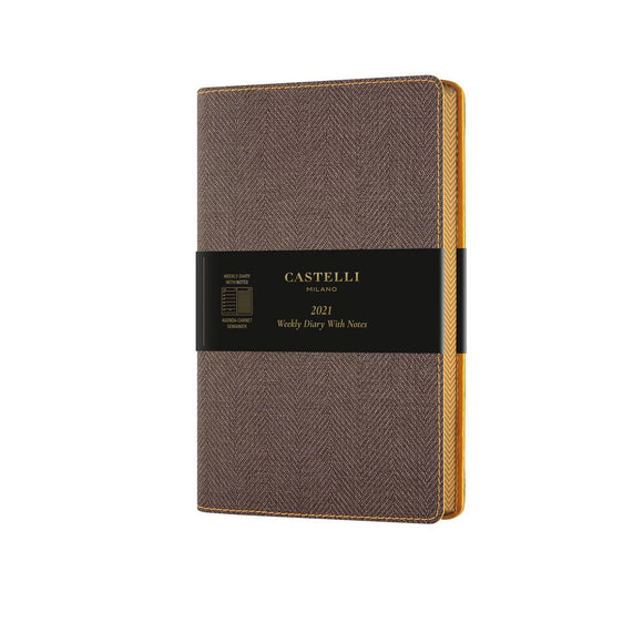 Harris 2021 Medium Flexible Weekly Diary - Tobacco Brown