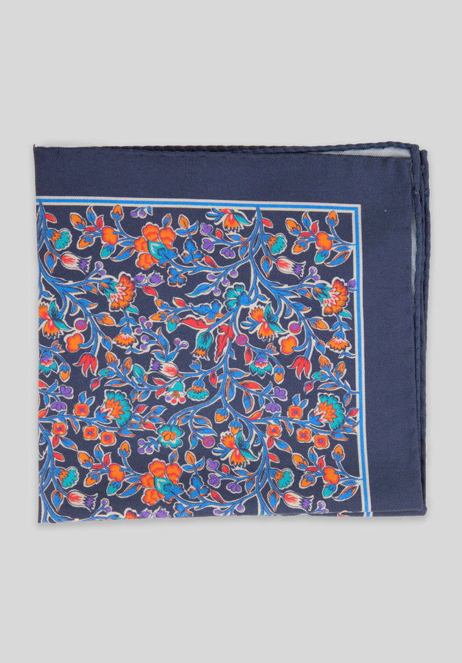 WILD VINES POCKET SQUARE - Navy