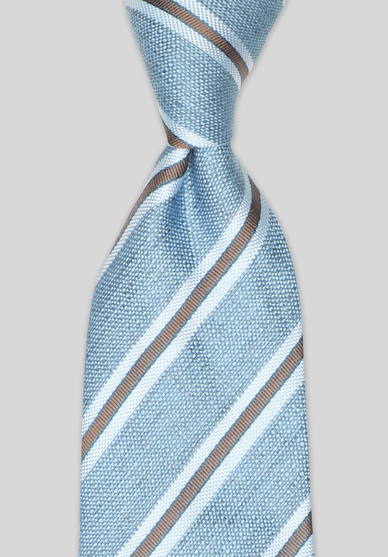 SILK/LINEN STRIPE 7.5CM TIE - Denim