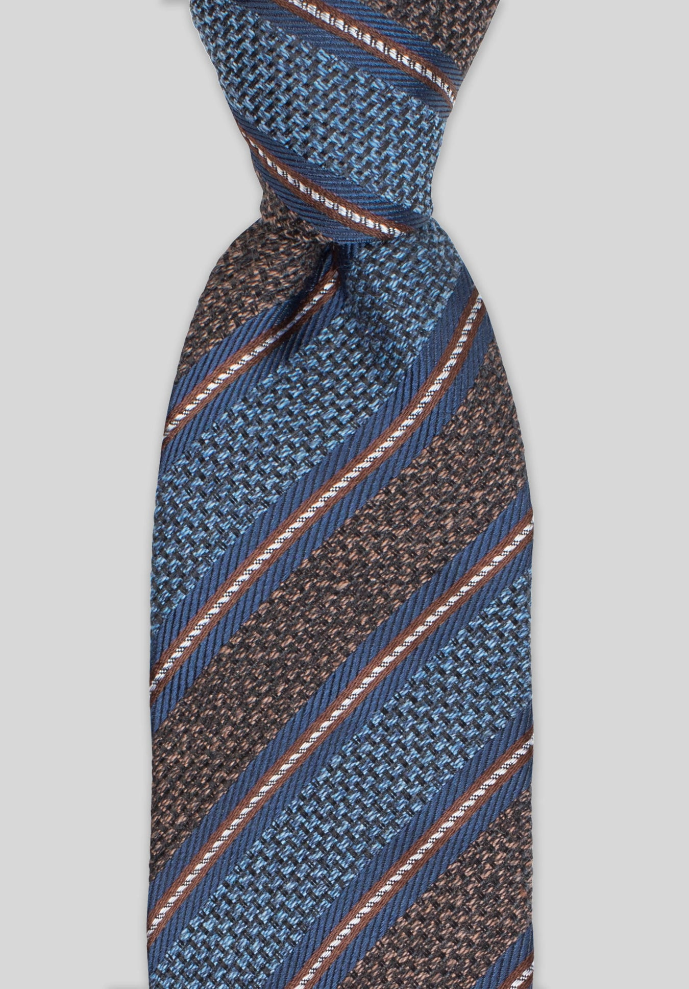 HESSIAN STRIPE 7.5CM TIE - Chocolate