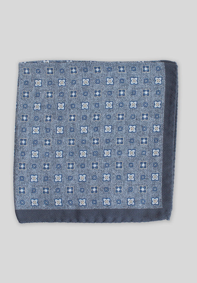 DOUBLE PRINT FOULARD POCHETTE - Denim