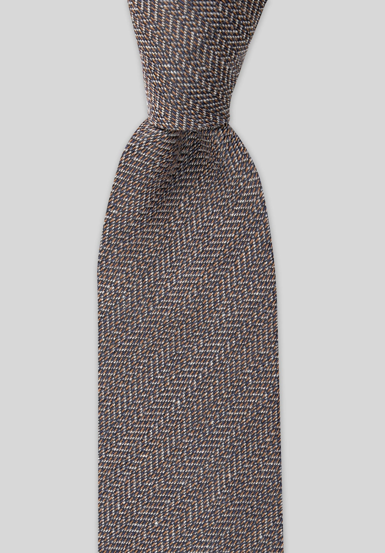 HERRINGBONE 7.5CM WOOL TIE - Chocolate