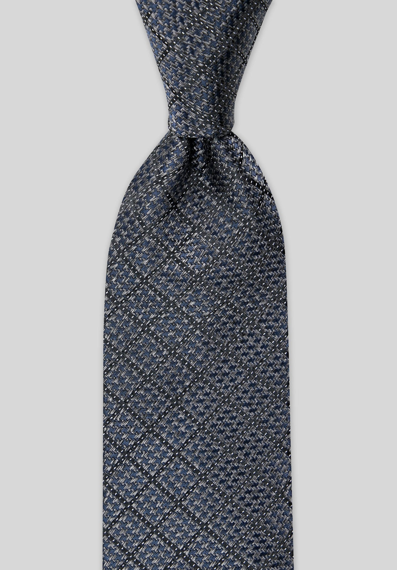 HOUNDSTOOTH 7.5CM SILK TIE - Charcoal