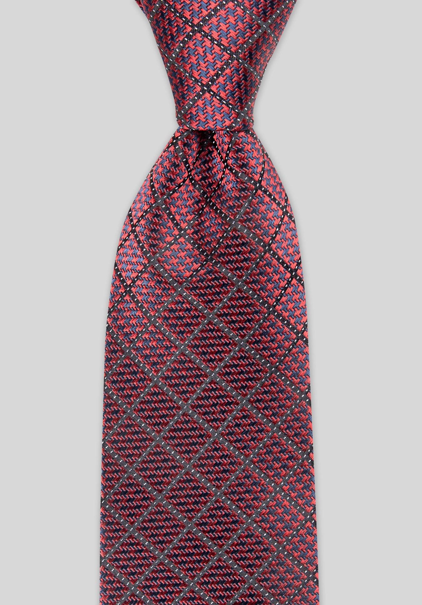 HOUNDSTOOTH 7.5CM SILK TIE - Wine