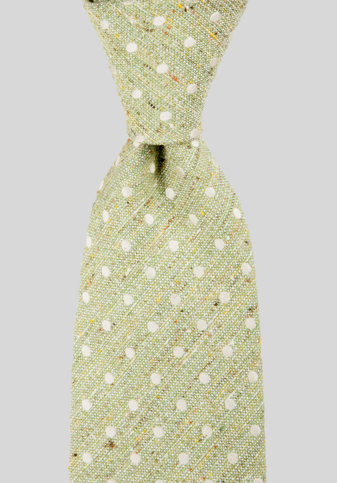 POLKADOT SILK COTTON 7.5CM TIE - Green