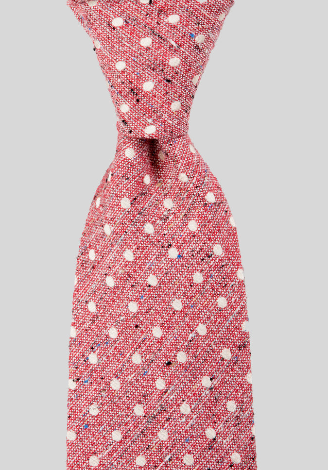 POLKADOT SILK COTTON 7.5CM TIE - Red