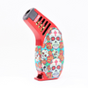 SUGAR SKULL RED TECHNO TORCH RUBBER SLANT LIGHTER COLORFUL
