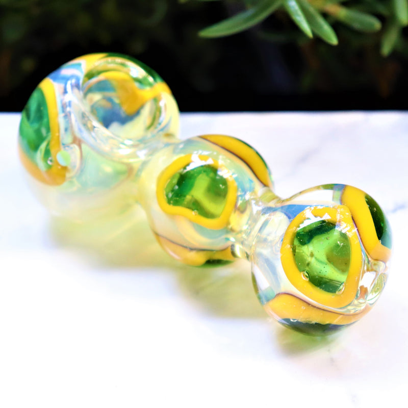 "4.5"" YELLOW GREEN CURVY BODY GLASS PIPE COLLECTIBLE TOBACCO GLASS SMOKING HERB BOWL HAND PIPES GIFT"