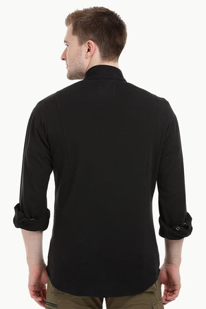 Mens Black Snap Button Knit Shirt