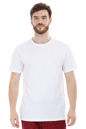 Mens Knit White Solid Tee