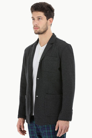 Cotton Fleece Blazer with 3 Buttons