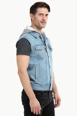 Sleeveless Hooded Denim Jacket