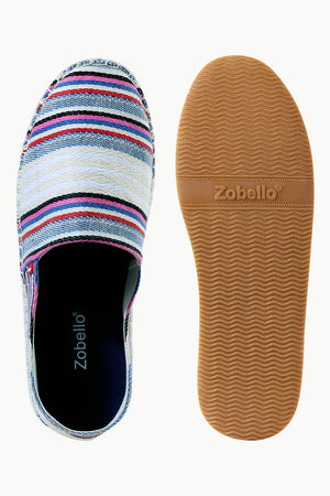 Mens Multi Color Jacquard Striped Espadrilles