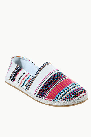 Mens Multi Color Jacquard Embroidered Espadrilles