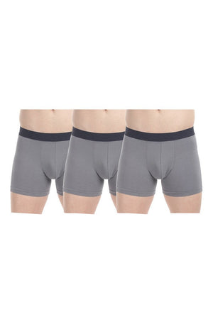 Stretchable Solid Boxer Briefs - Pack Of 3