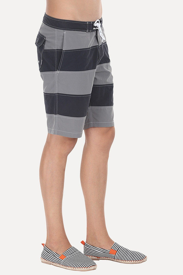 Dual Stripe Swim Shorts With Waistband And Drawstring