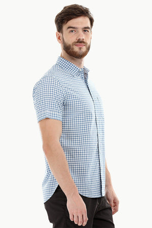 Baby Blue Gingham Check Shirt