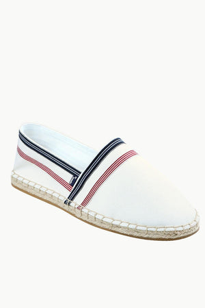 Men's White Stripe Canvas Espadrilles