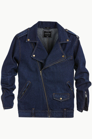 Biker Style Dark Wash Denim Jacket