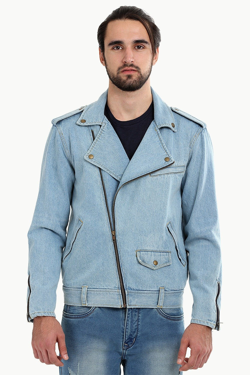 Buy Online Biker Style Light Wash Denim Jacket For Men Online At Zobello