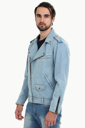 Biker Style Light Wash Denim Jacket