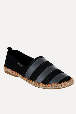 Black And Grey Stripe Espadrilles