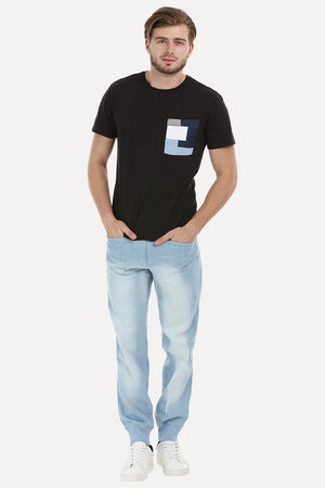 Black Contrast Pocket T-Shirt