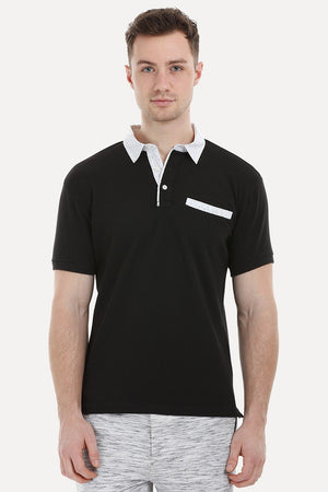 Black Printed Collar Polo T-Shirt